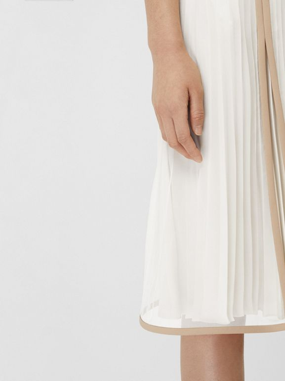 Chiffon Panel Silk Pleated Skirt in Magnolia - Women | Burberry Canada - cell image 1