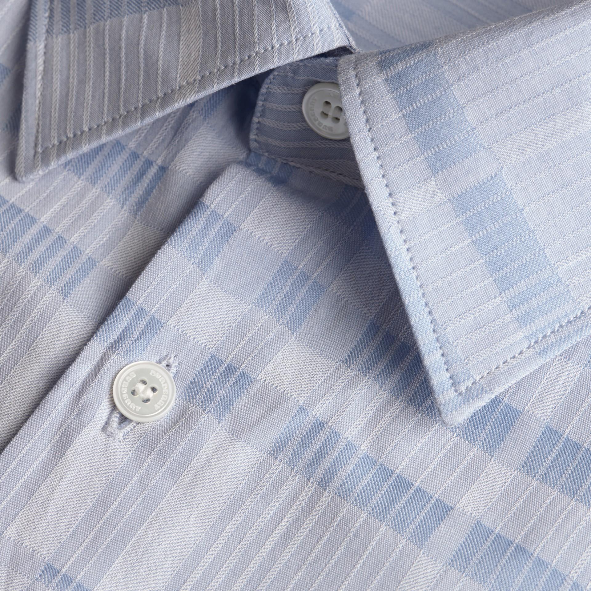 Bleu dragée Chemise en coton tissé en jacquard à motif check Bleu Dragée - photo de la galerie 2