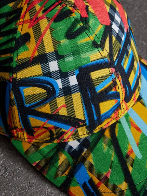 Graffitied Scribble Check Baseball Cap in Amber Yellow | Burberry - cell image 1
