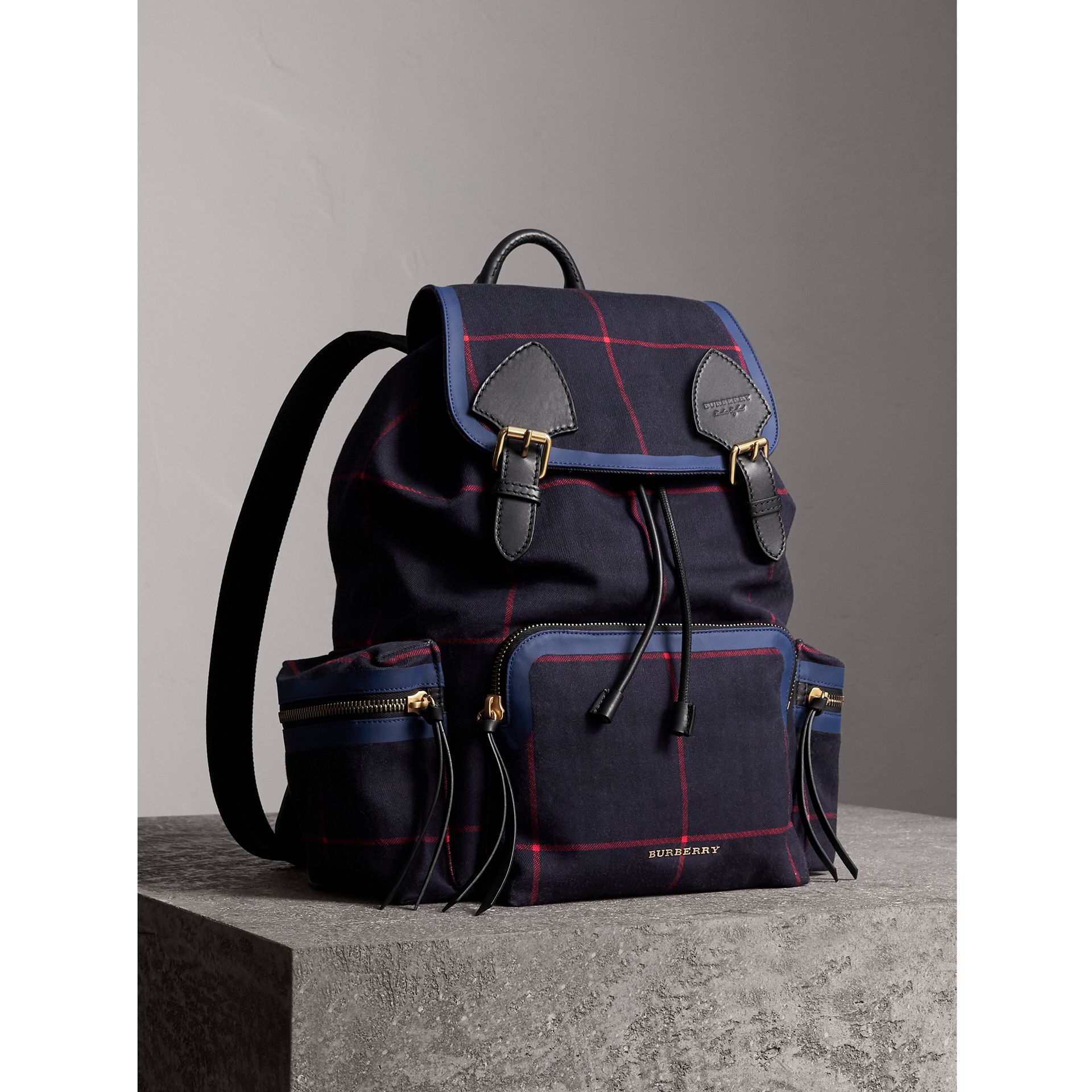 The Large Rucksack in Tartan Cotton in Deep Navy | Burberry - gallery image 1