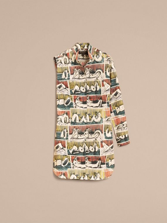 One-shoulder Reclining Figures Print Shirt Dress - cell image 3