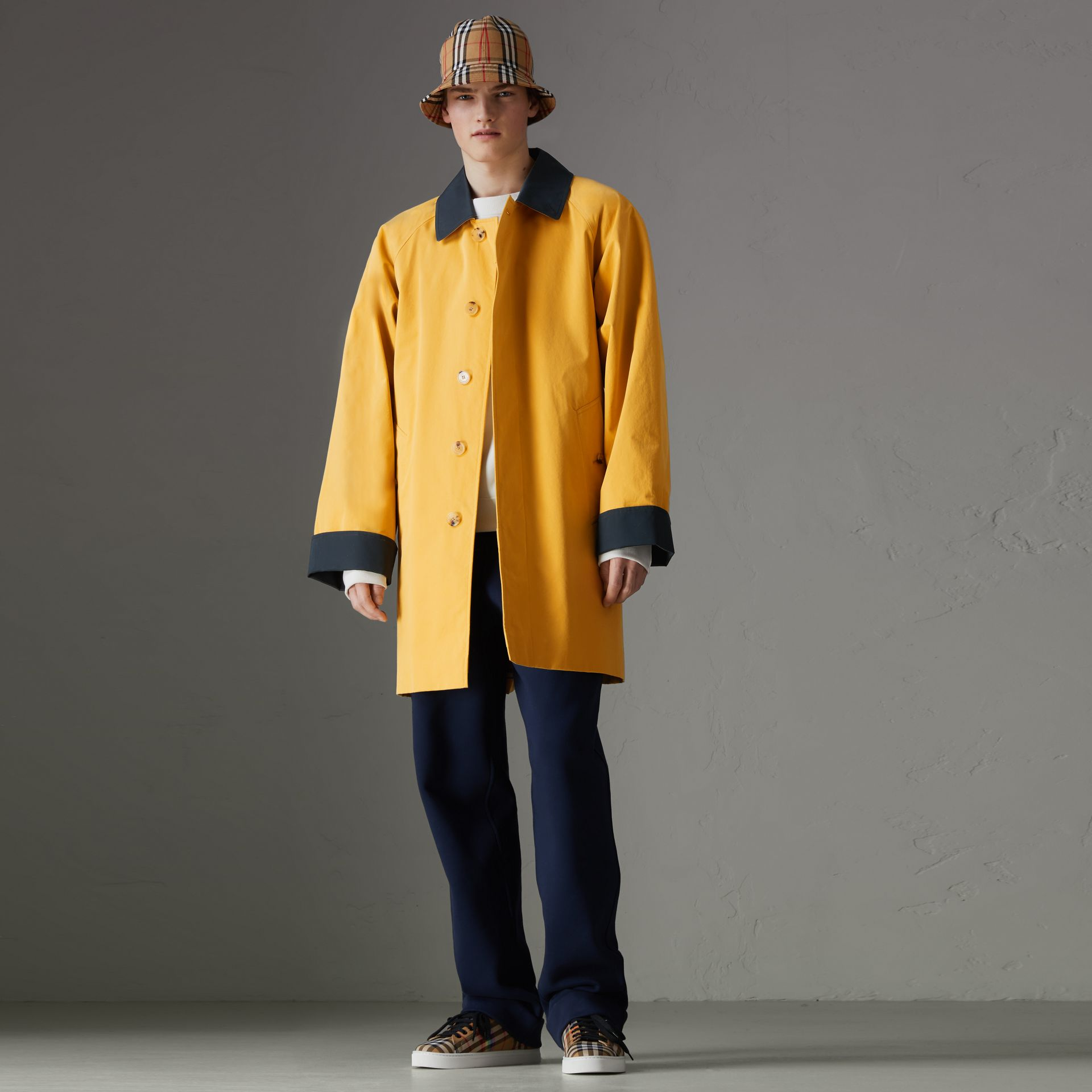 Reissued Waxed Cotton Gabardine Car Coat in Yellow - Men | Burberry - gallery image 5