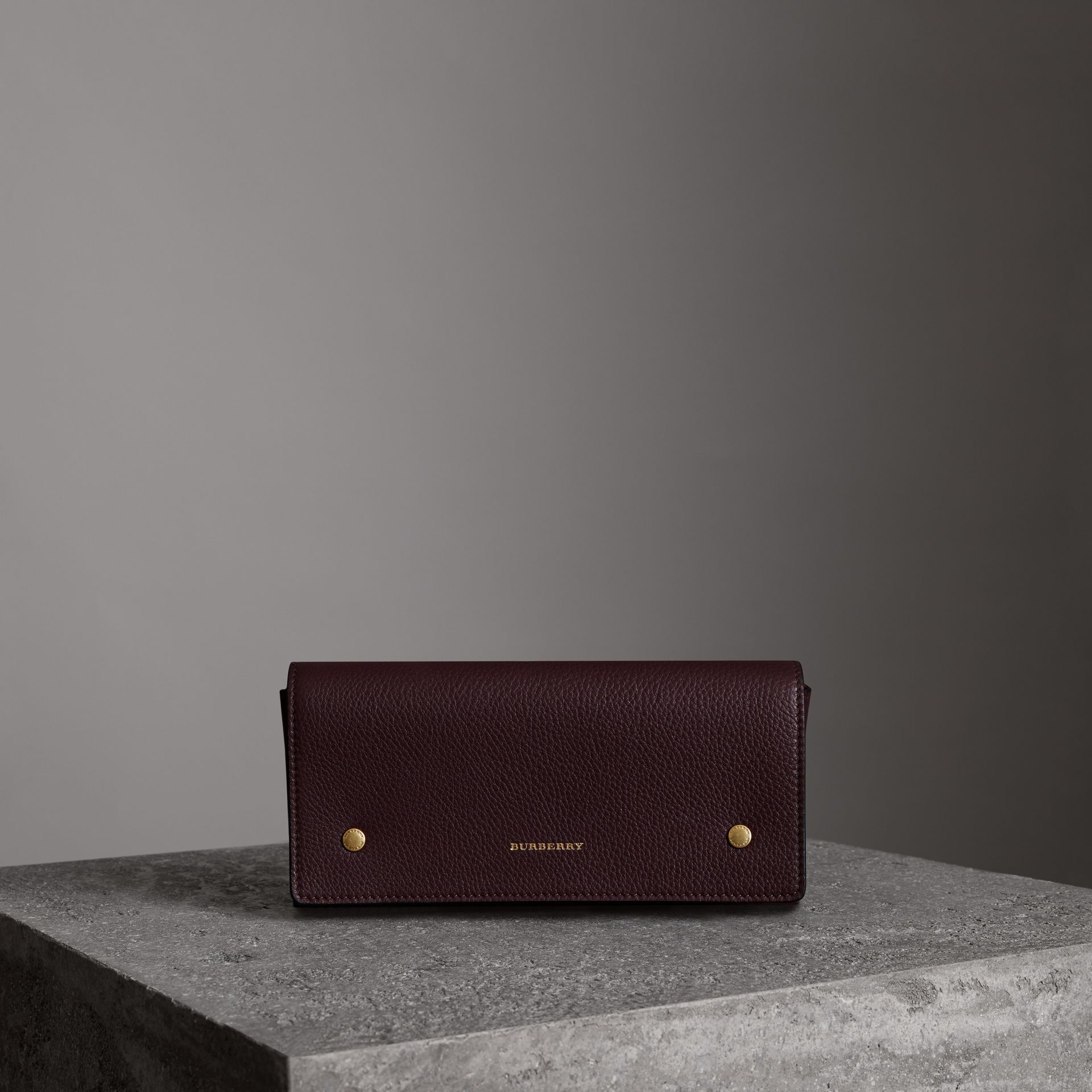 Two-tone Leather Continental Wallet in Deep Claret - Women | Burberry - gallery image 0