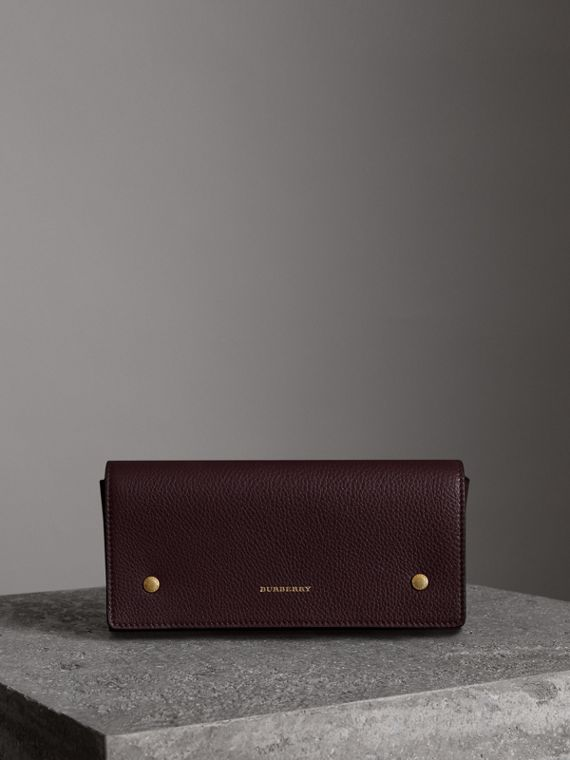Two-tone Leather Continental Wallet in Deep Claret