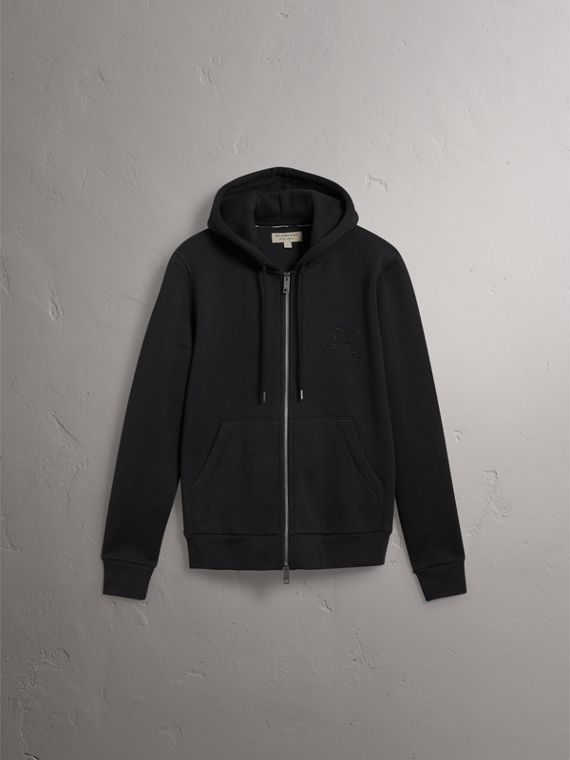 Equestrian Knight Device Jersey Hooded Zip-front Top in Black - Men | Burberry United Kingdom - cell image 3
