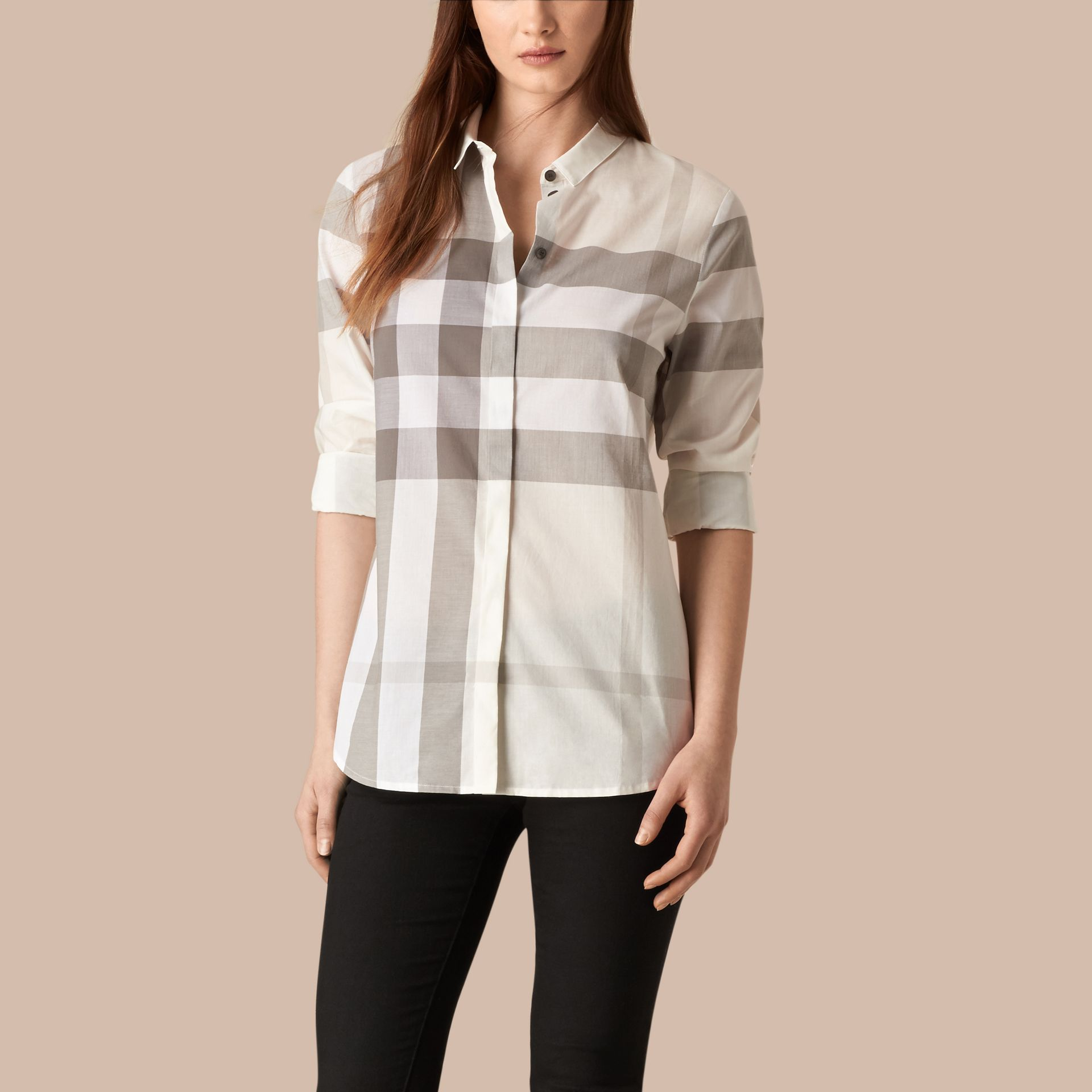Natural Check Cotton Shirt Natural - gallery image 1