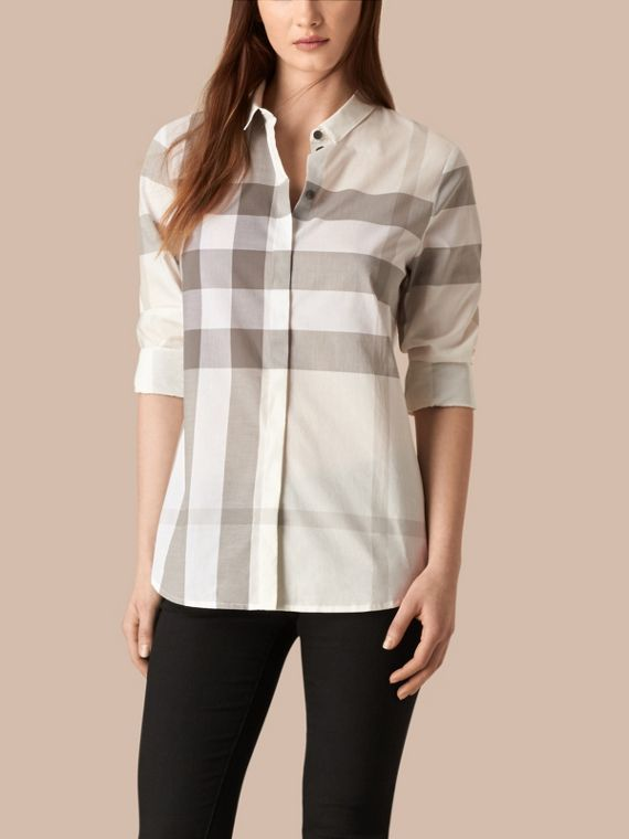 Check Cotton Shirt Natural
