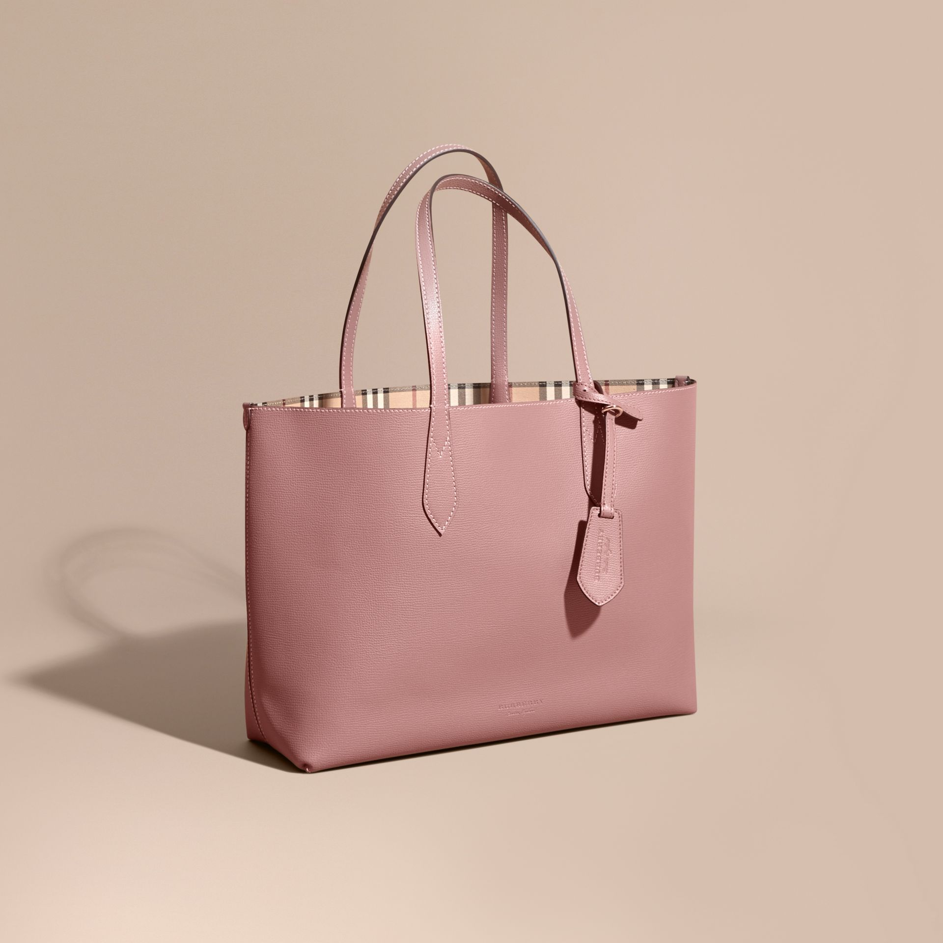 The Medium Reversible Tote in Haymarket Check and Leather in Light Elderberry - Women | Burberry - gallery image 1