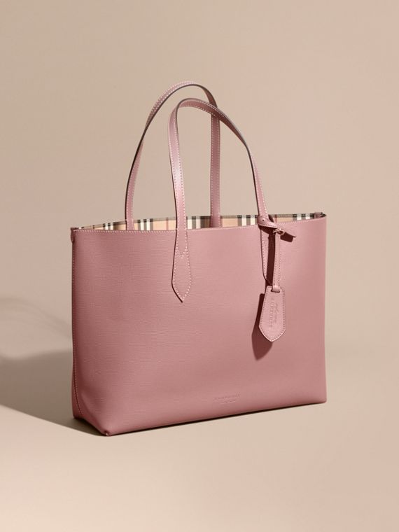 The Medium Reversible Tote in Haymarket Check and Leather in Light Elderberry
