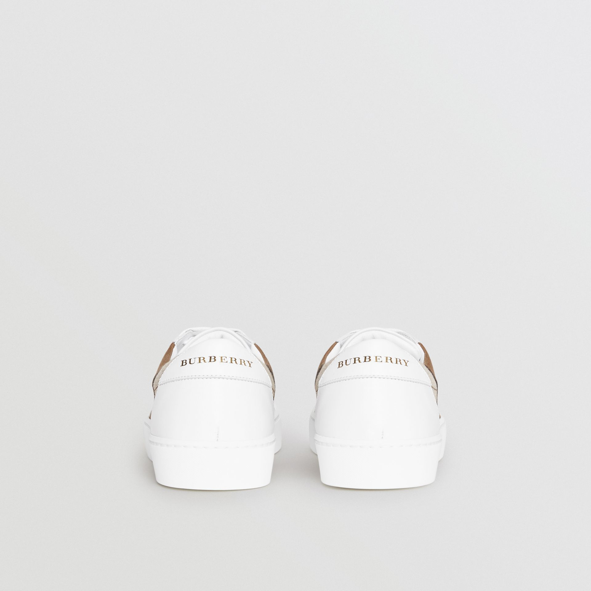 Check Detail Leather Sneakers in House Check/ Optic White - Women | Burberry Australia - gallery image 4