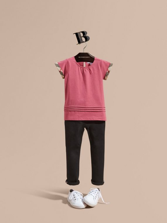 Pleat and Check Detail Cotton T-shirt Pink Azalea
