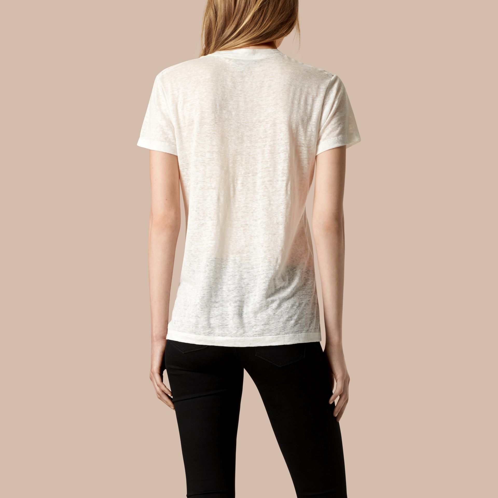White V-Neck Open Stitch Detail Linen T-Shirt White - gallery image 3