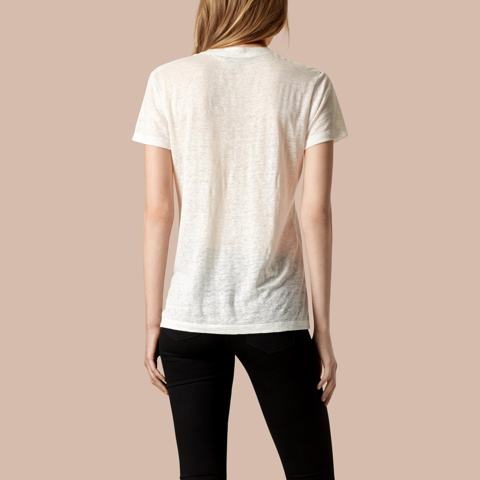 Blanc T-shirt en lin à col V et mailles ouvertes Blanc - photo de la galerie 3