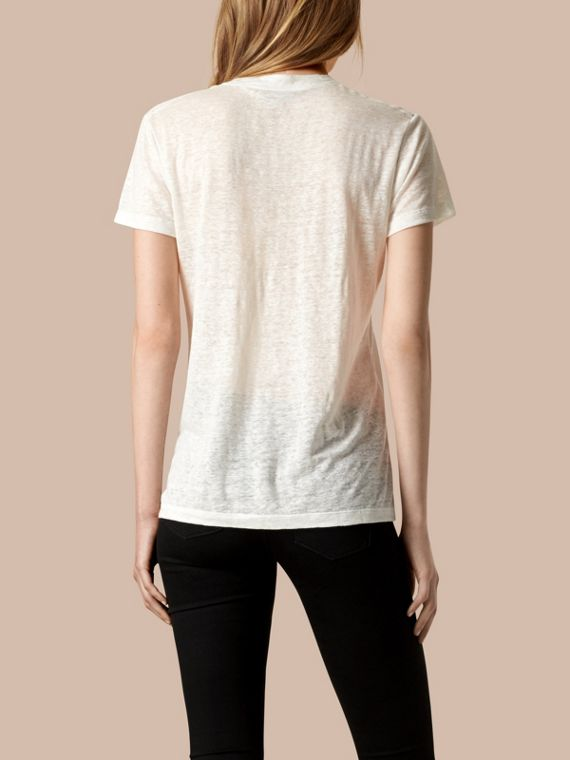 White V-Neck Open Stitch Detail Linen T-Shirt White - cell image 2