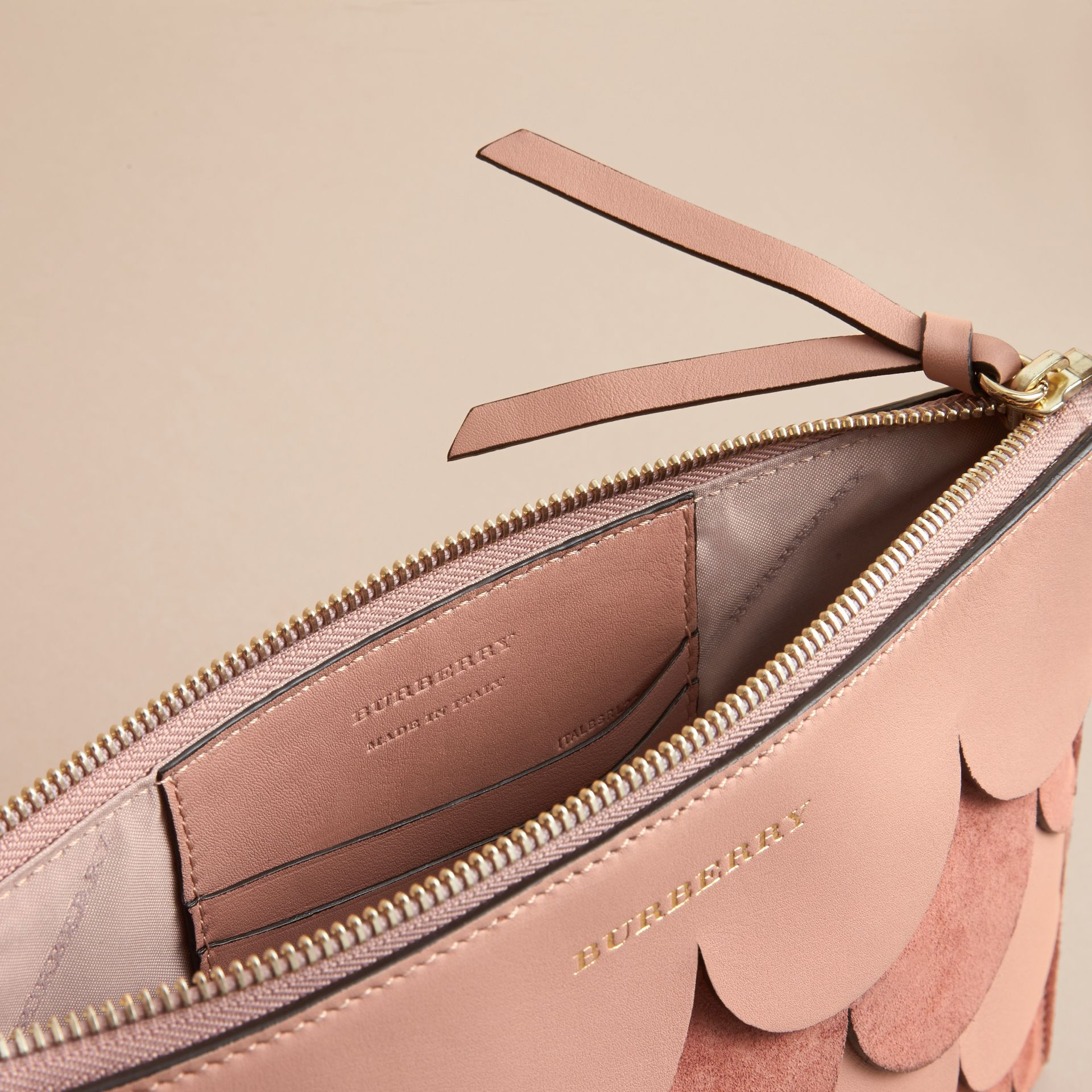 Two-tone Scalloped Leather and Suede Clutch Bag in Ash Rose - Women | Burberry Singapore - gallery image 6