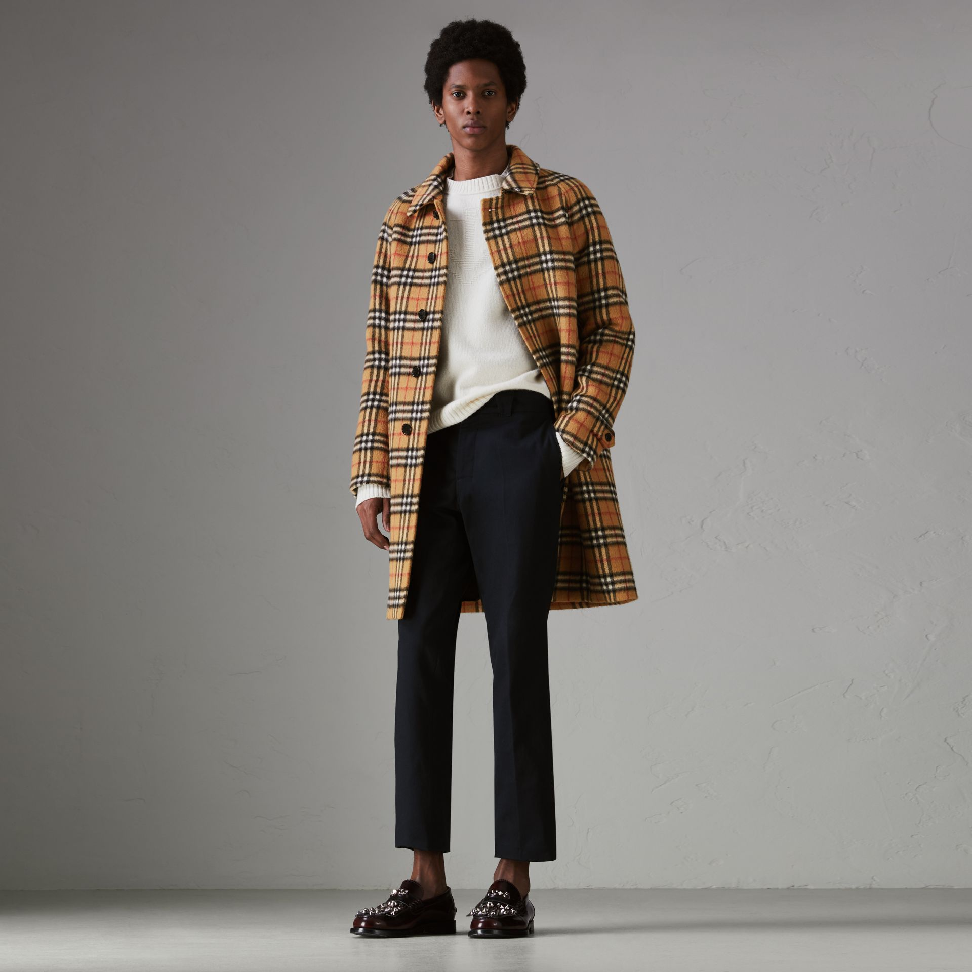Vintage Check Alpaca Wool Car Coat in Antique Yellow - Men | Burberry - gallery image 0