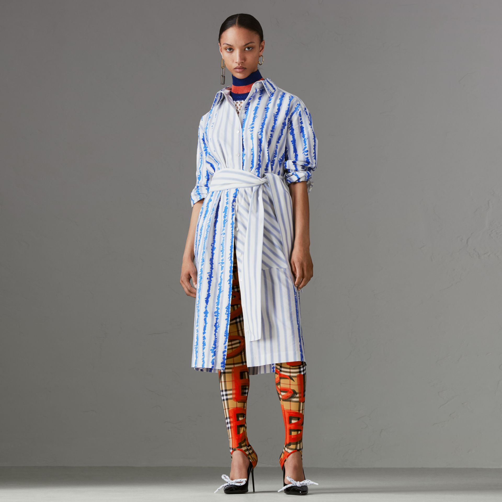 Scribble Stripe Silk Cotton Shirt Dress in Navy - Women | Burberry United Kingdom - gallery image 0