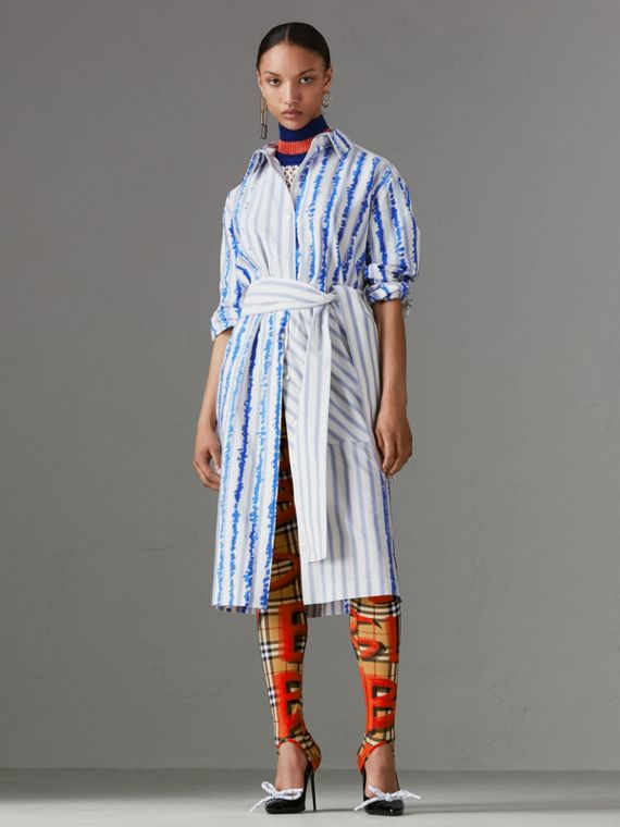 Scribble Stripe Silk Cotton Shirt Dress in Navy