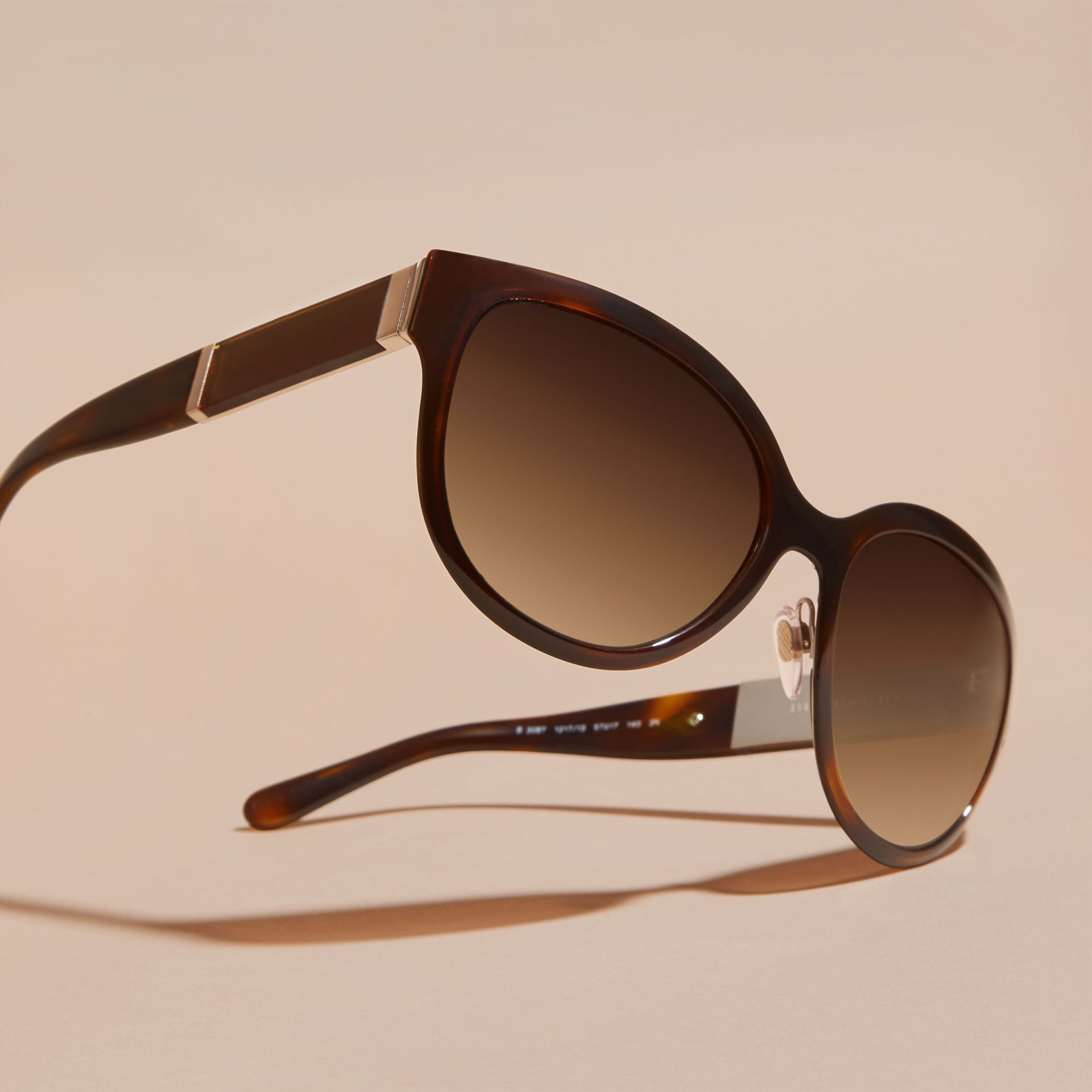 Light russet brown Check Detail Round Cat-eye Sunglasses Light Russet Brown - gallery image 3