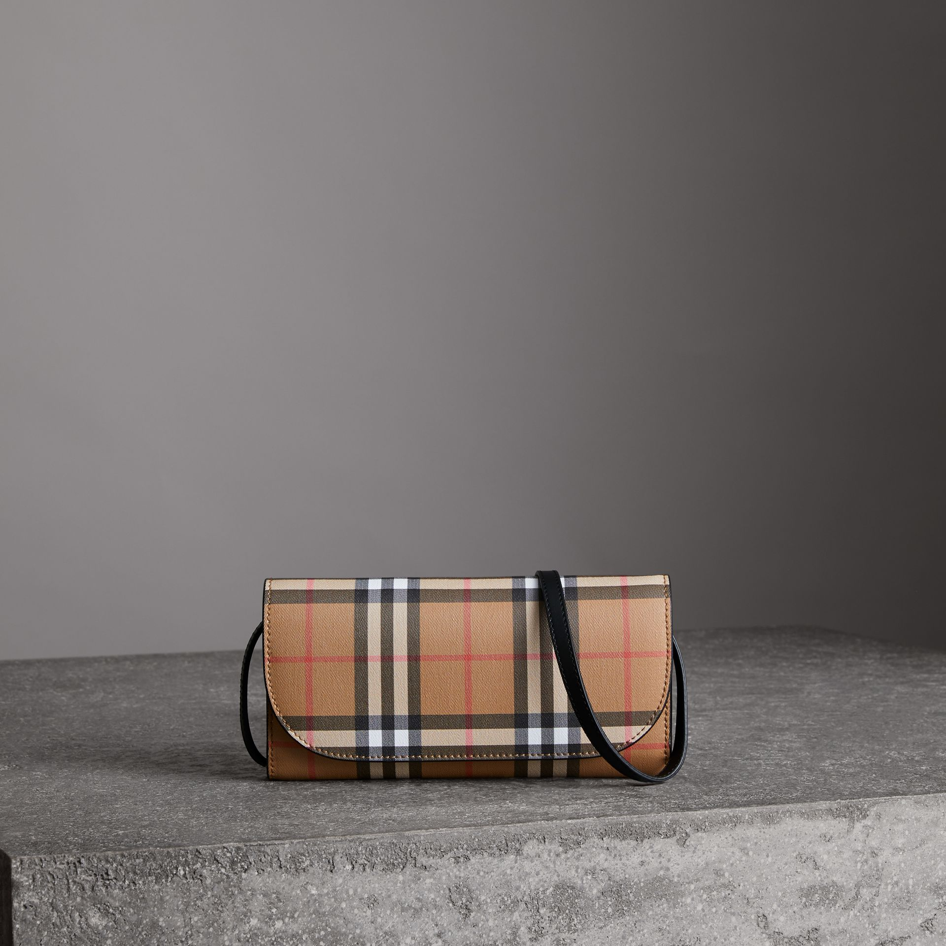 Detachable Strap Vintage Check Leather Wallet in Black - Women | Burberry United Kingdom - gallery image 0