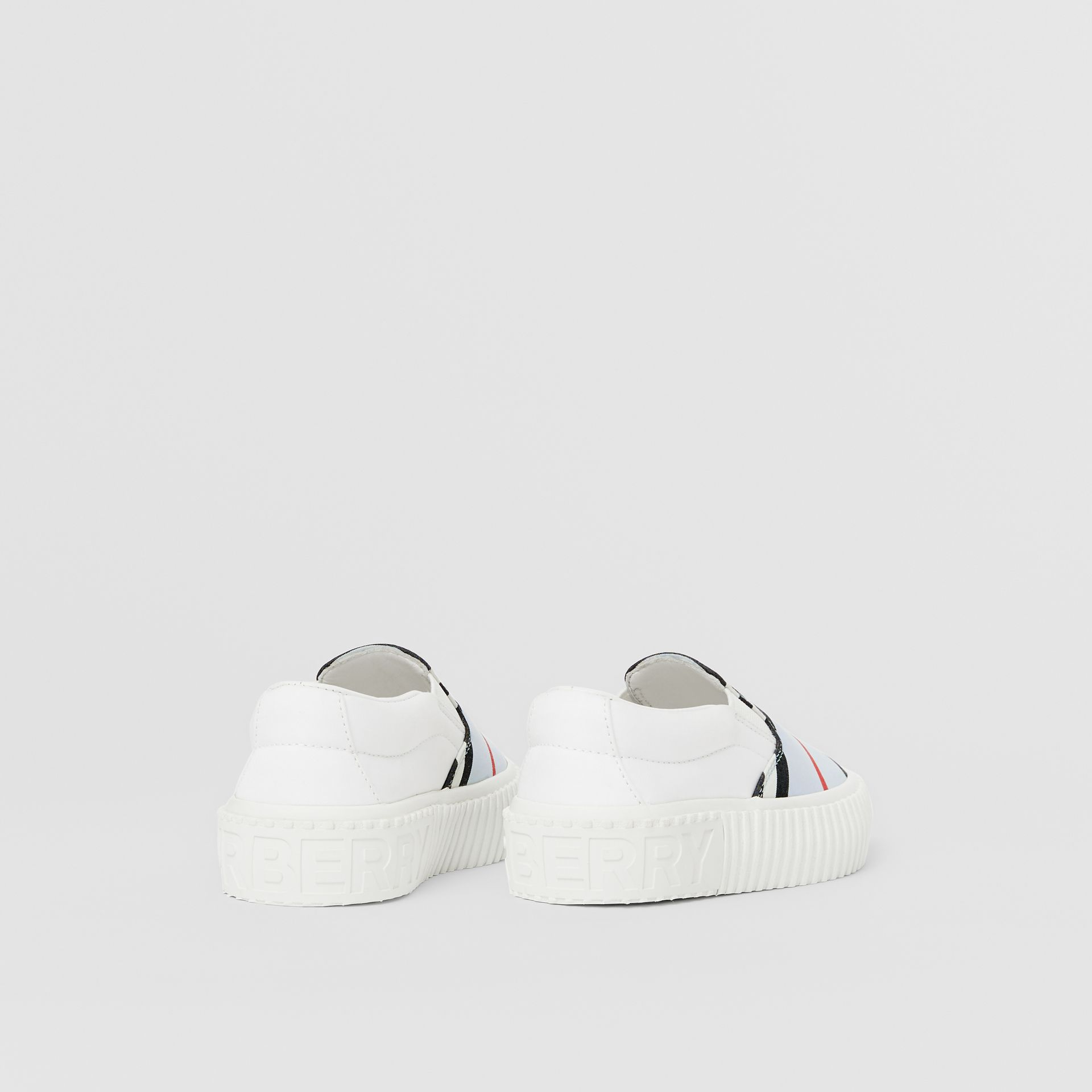Icon Stripe Cotton Slip-on Sneakers in Pale Blue - Children | Burberry United States - gallery image 2