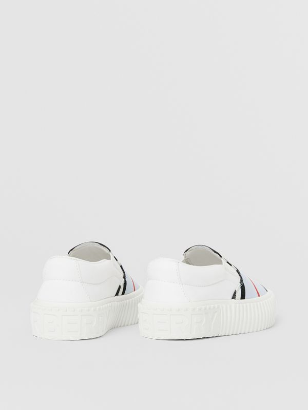 Icon Stripe Cotton Slip-on Sneakers in Pale Blue - Children | Burberry United States - cell image 2