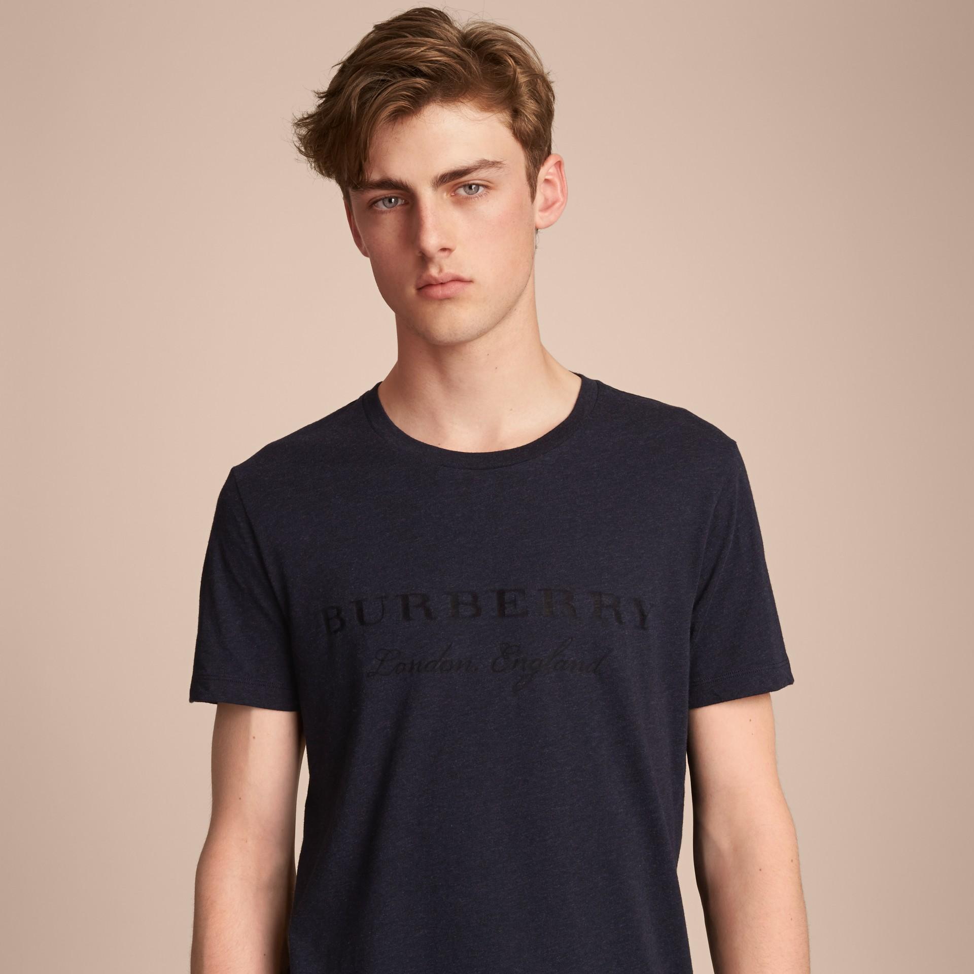 Devoré Cotton Jersey T-shirt in Navy Melange - gallery image 5