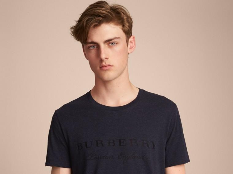 Devoré Cotton Jersey T-shirt in Navy Melange - cell image 4