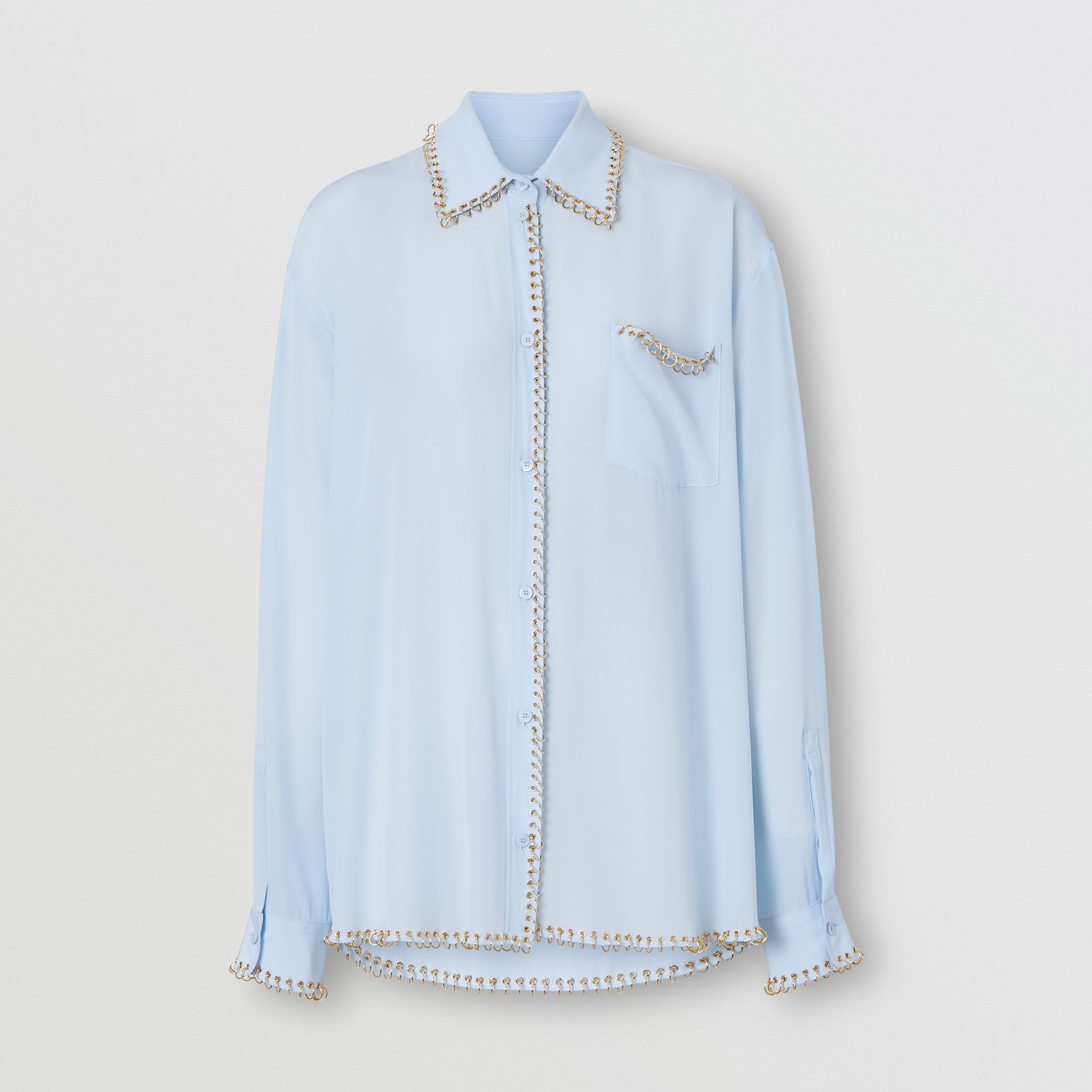 Ring-pierced Silk Crepe Shirt in Pale Blue - Women | Burberry - gallery image 3