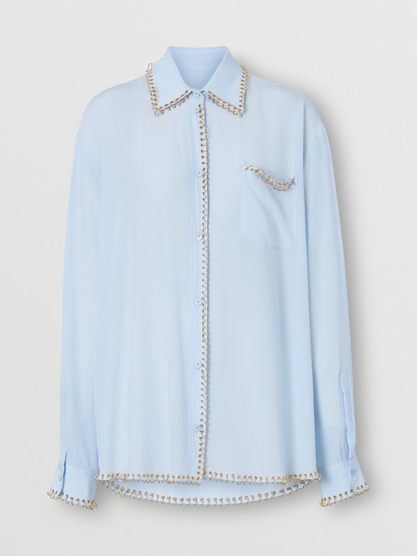 Ring-pierced Silk Crepe Shirt in Pale Blue - Women | Burberry - cell image 3