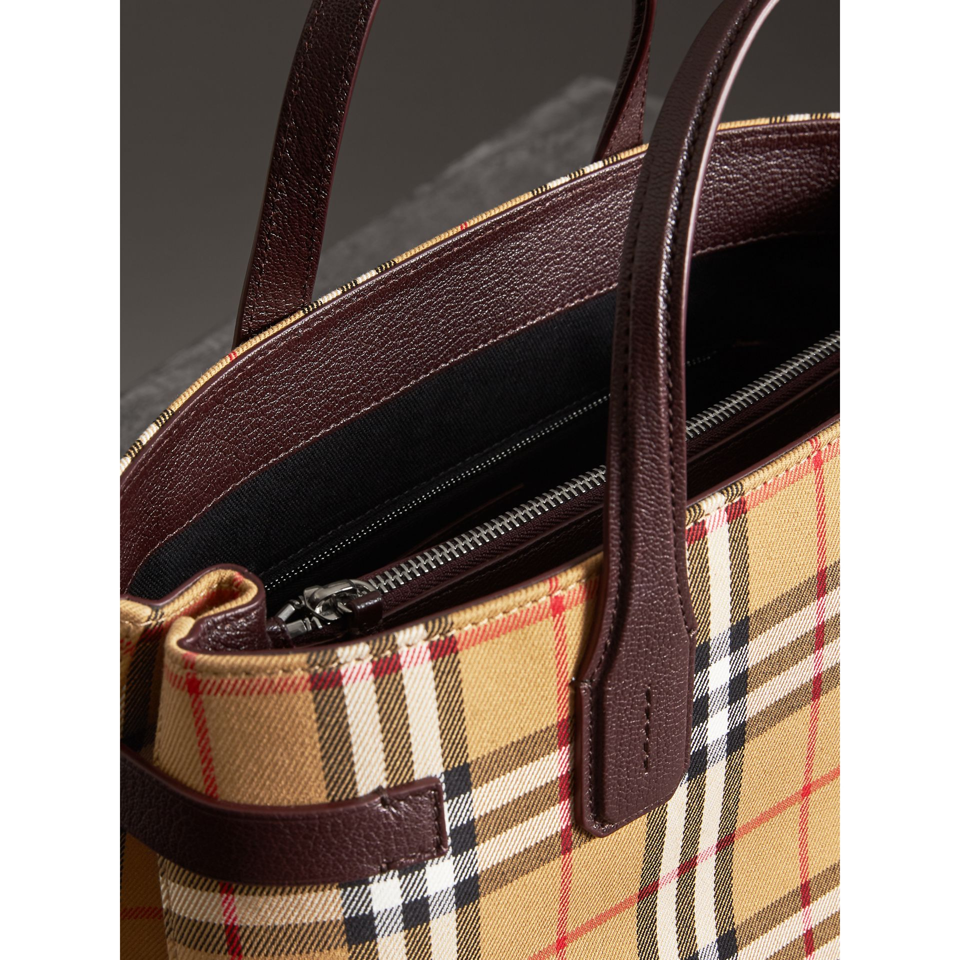 The Medium Banner in Vintage Check and Leather in Deep Claret - Women | Burberry United Kingdom - gallery image 5