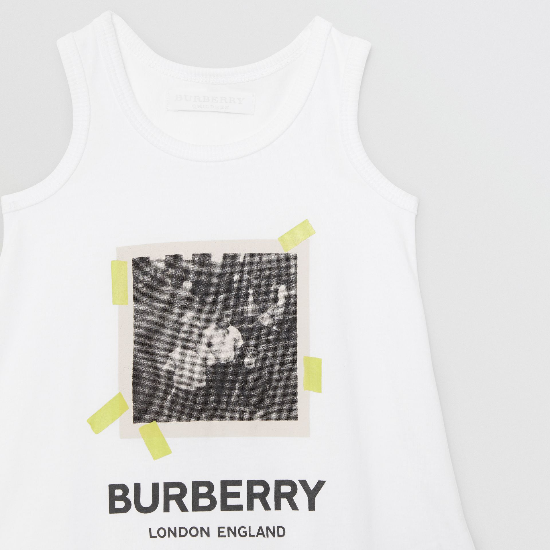 Vintage Photo Print Cotton Bodysuit in White - Children | Burberry - gallery image 4