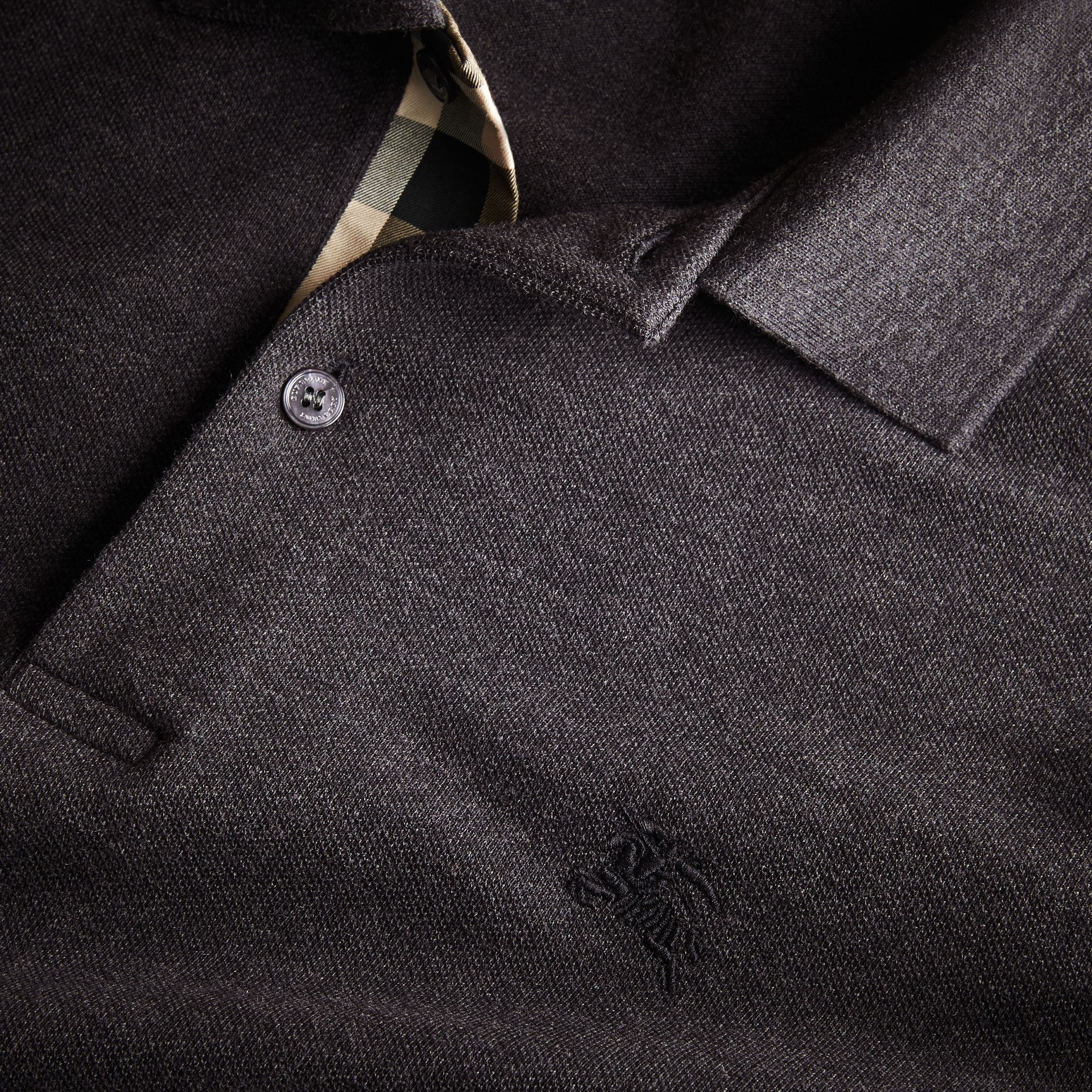 Check Placket Long Sleeve Polo Shirt in Dark Charcoal Melange - gallery image 2
