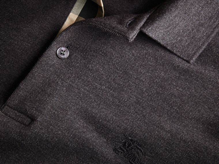 Check Placket Long Sleeve Polo Shirt in Dark Charcoal Melange - Men | Burberry Hong Kong - cell image 1