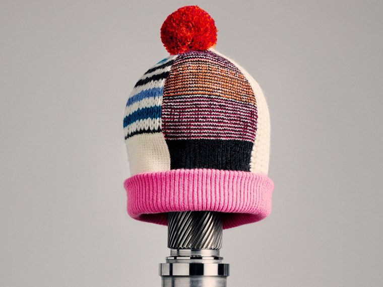 Pom-pom Wool Cashmere Patchwork Beanie in Natural White/pink | Burberry - cell image 2