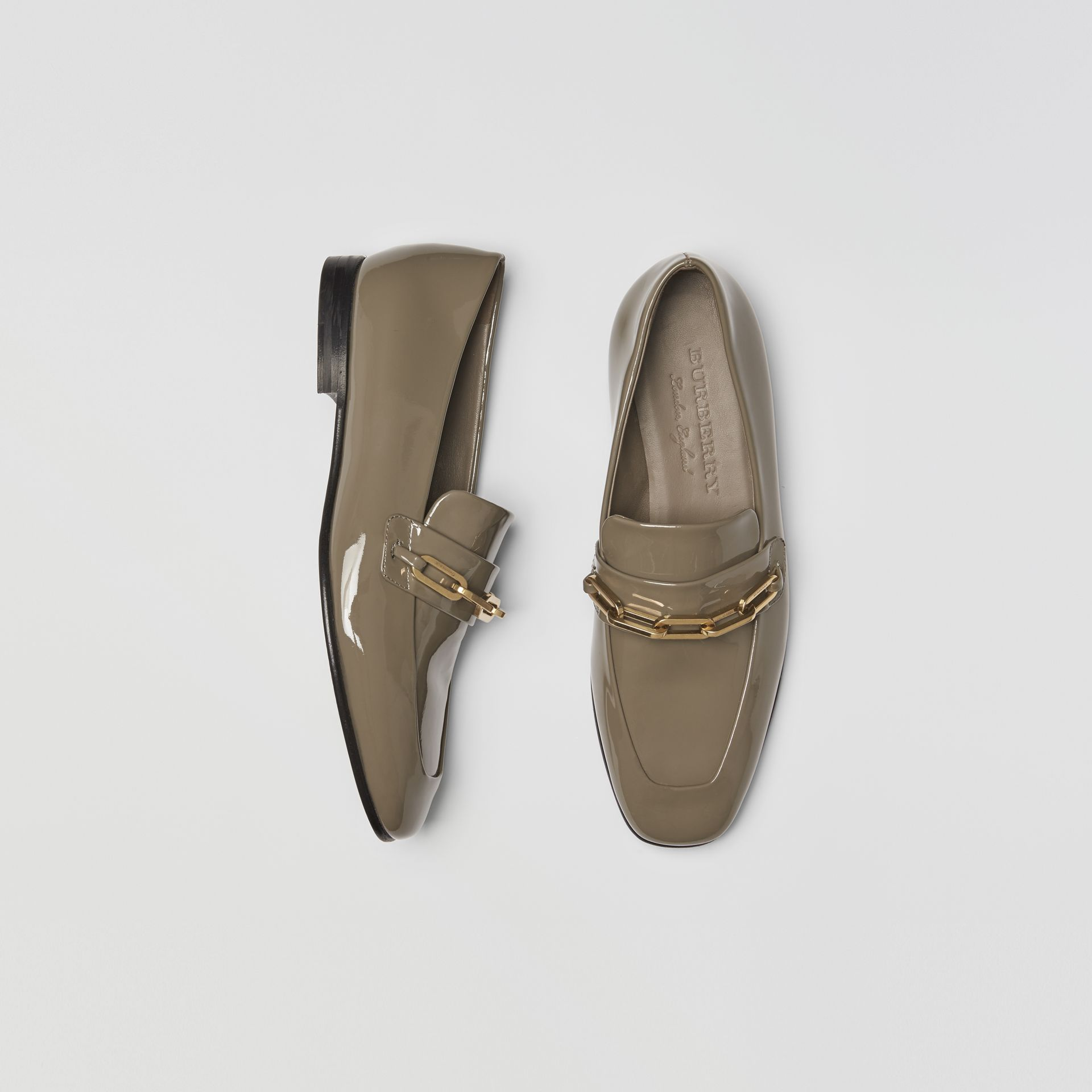 Link Detail Patent Leather Loafers in Taupe Grey - Women | Burberry Singapore - gallery image 0