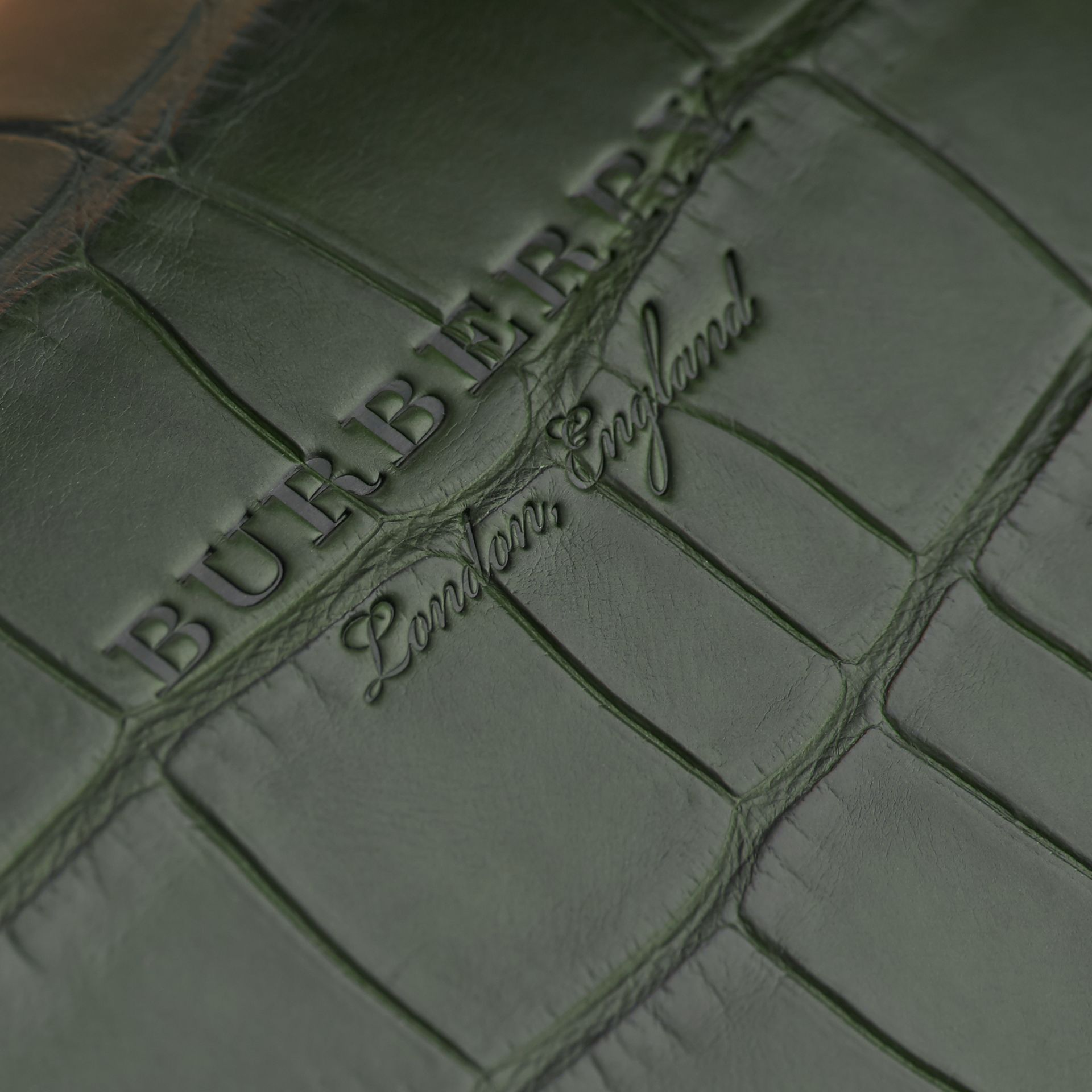 The Medium DK88 Top Handle Bag with Alligator in Tan/dark Forest Green - Women | Burberry - gallery image 5