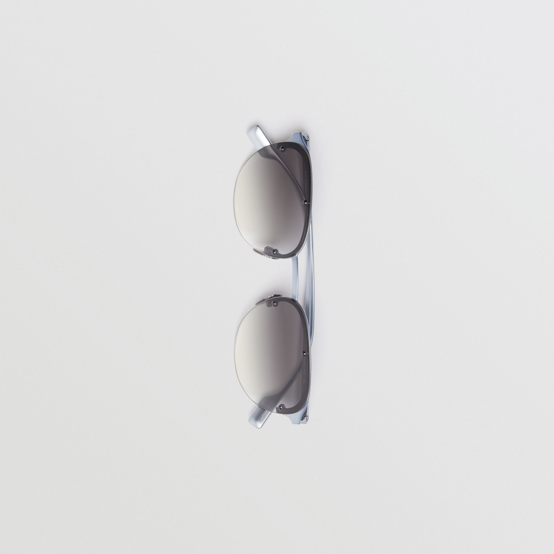 Round Frame Sunglasses in Grey - Men | Burberry United States - gallery image 3