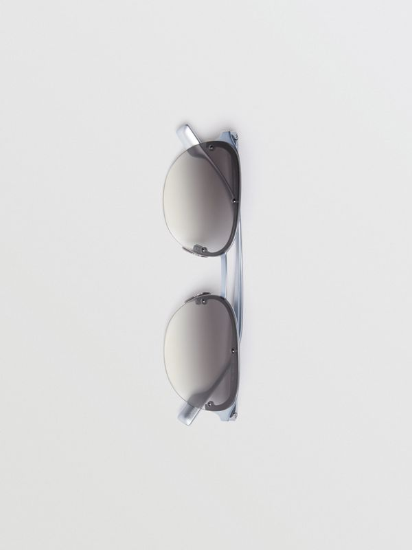 Round Frame Sunglasses in Grey - Men | Burberry - cell image 3