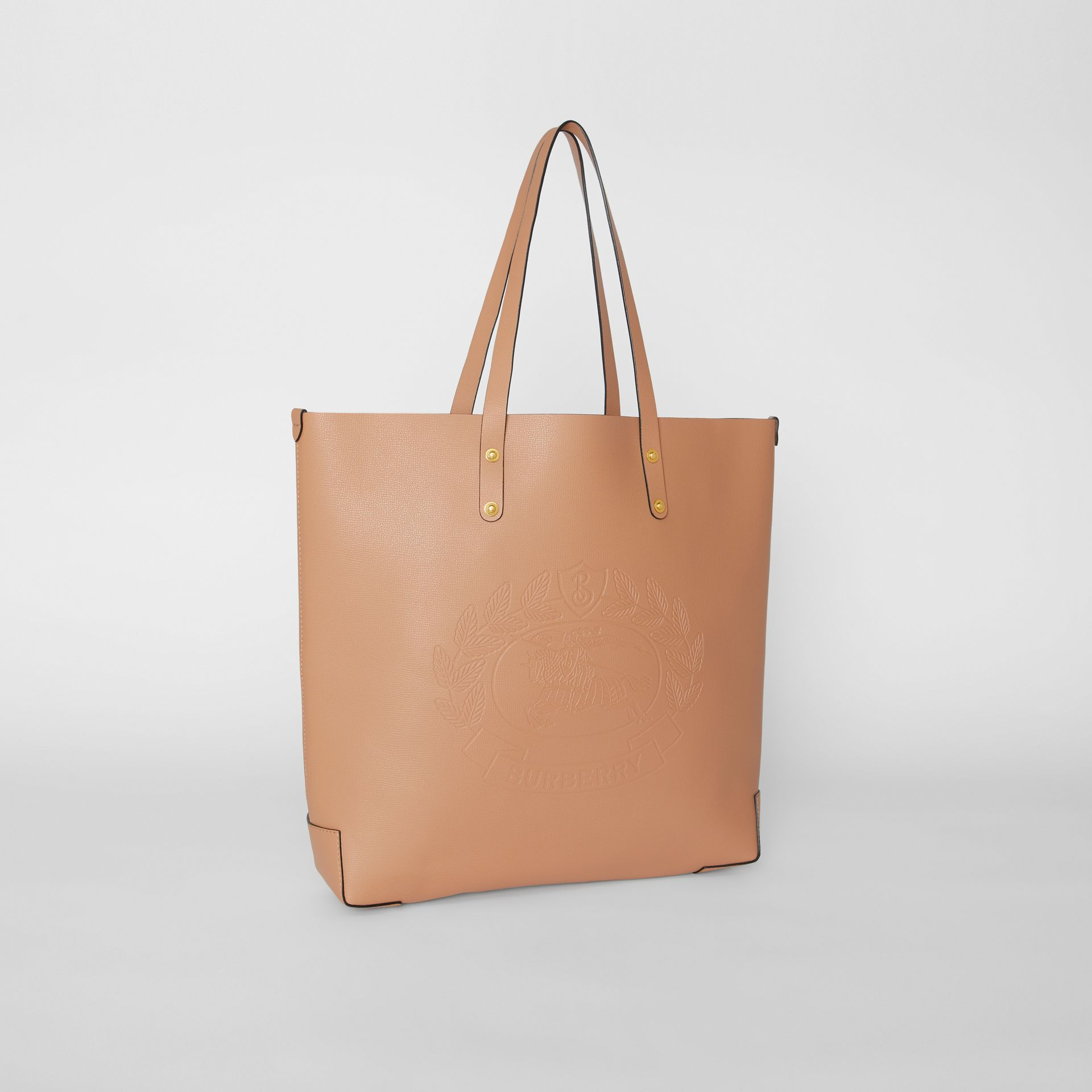 Large Embossed Crest Leather Tote in Light Camel - Women | Burberry - gallery image 6