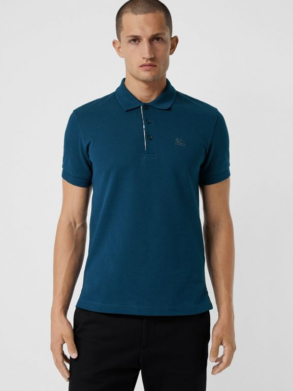 Check Placket Cotton Polo Shirt in Deep Teal Blue - Men | Burberry Singapore - cell image 1