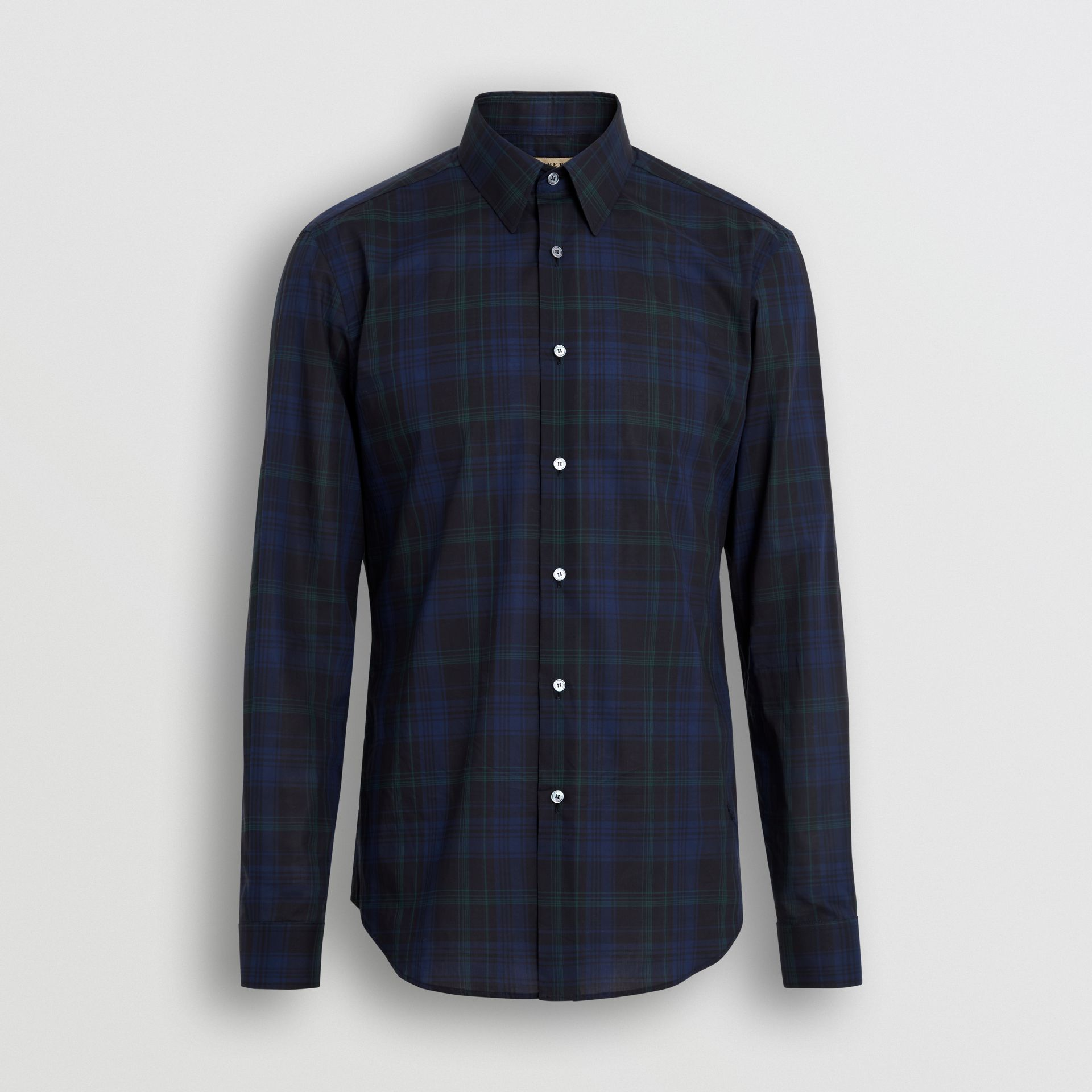 Slim Fit Tartan Cotton Shirt in Bright Navy - Men | Burberry - gallery image 3
