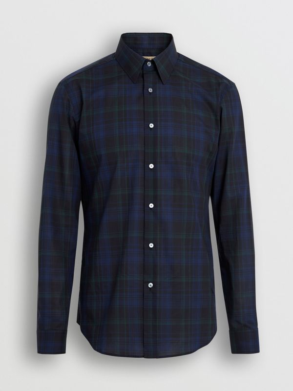 Slim Fit Tartan Cotton Shirt in Bright Navy - Men | Burberry United Kingdom - cell image 3