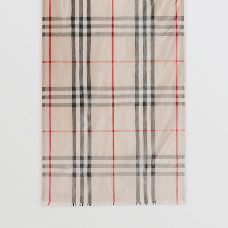 Burberry - Écharpe en laine et soie avec motif check métallisé - 5