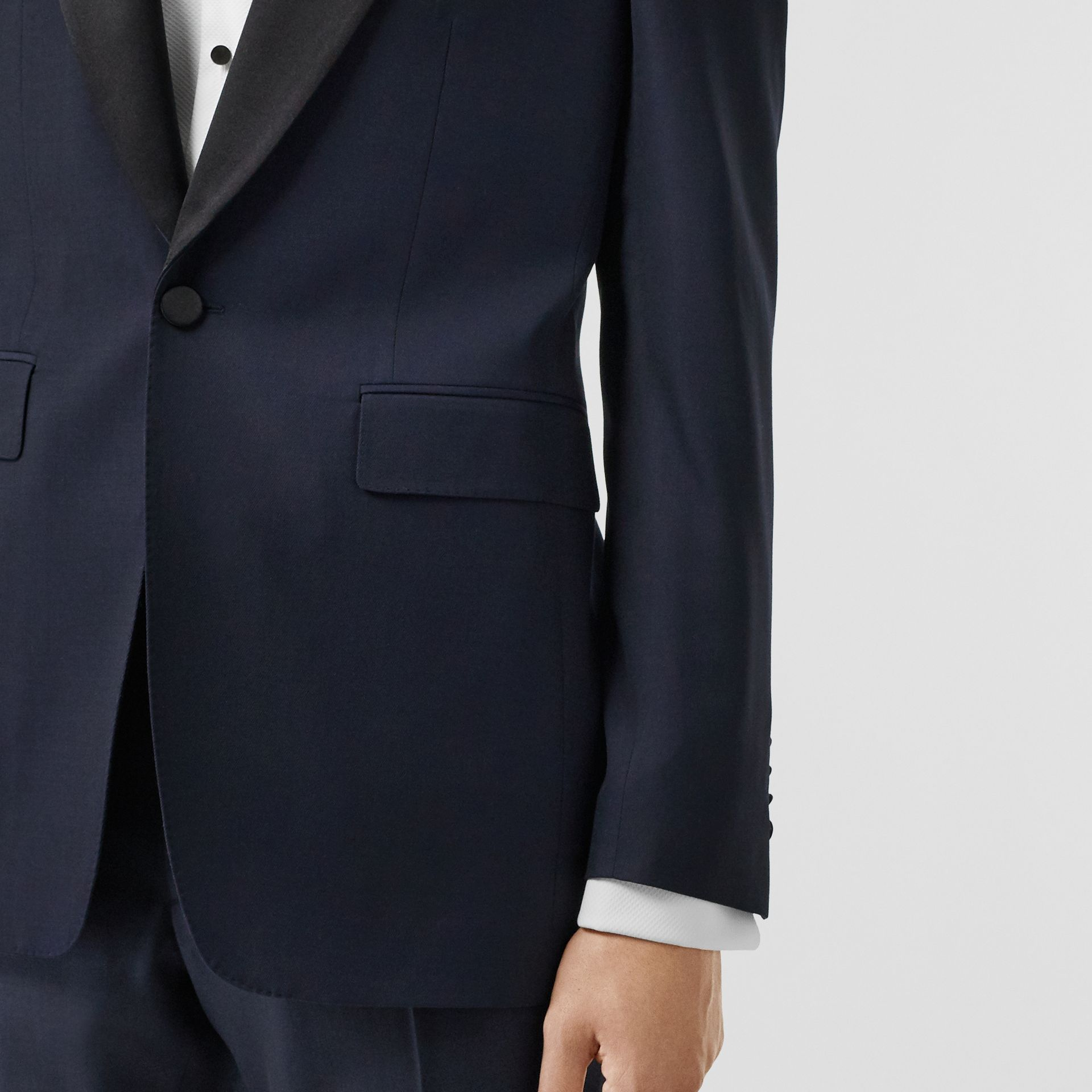 Classic Fit Wool Silk Tuxedo in Navy - Men | Burberry United Kingdom - gallery image 4
