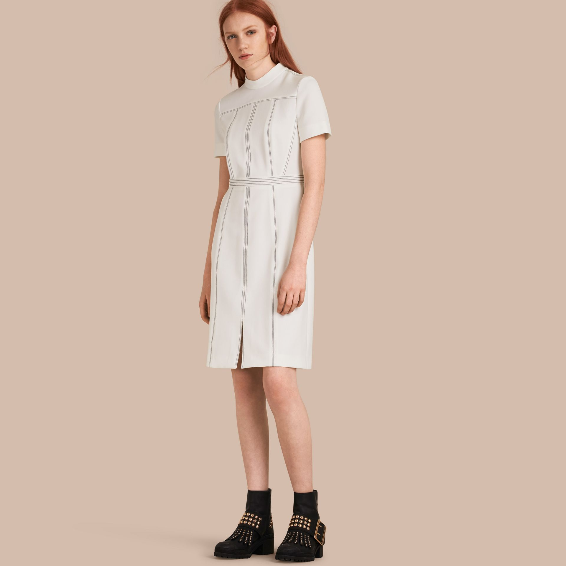 Natural white Topstitch Detail Shift Dress - gallery image 1