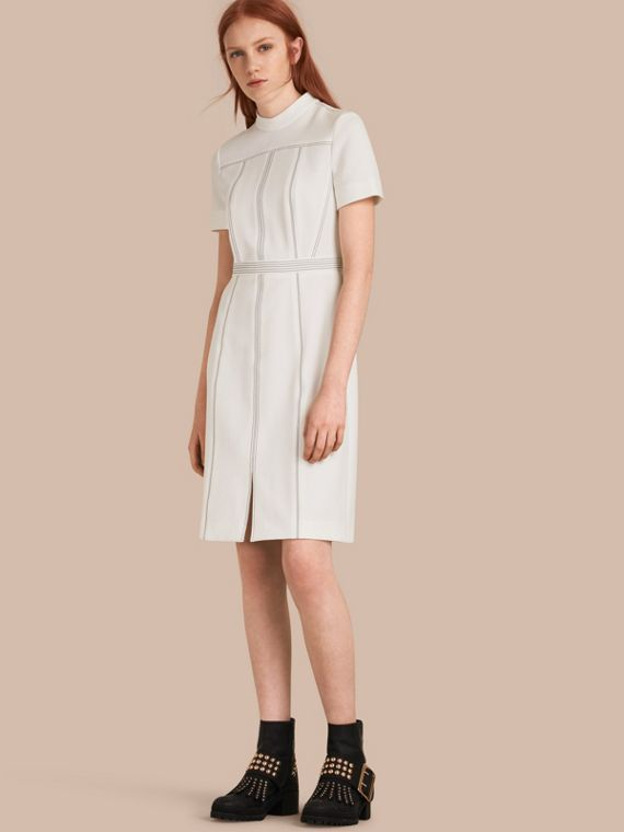 Topstitch Detail Shift Dress