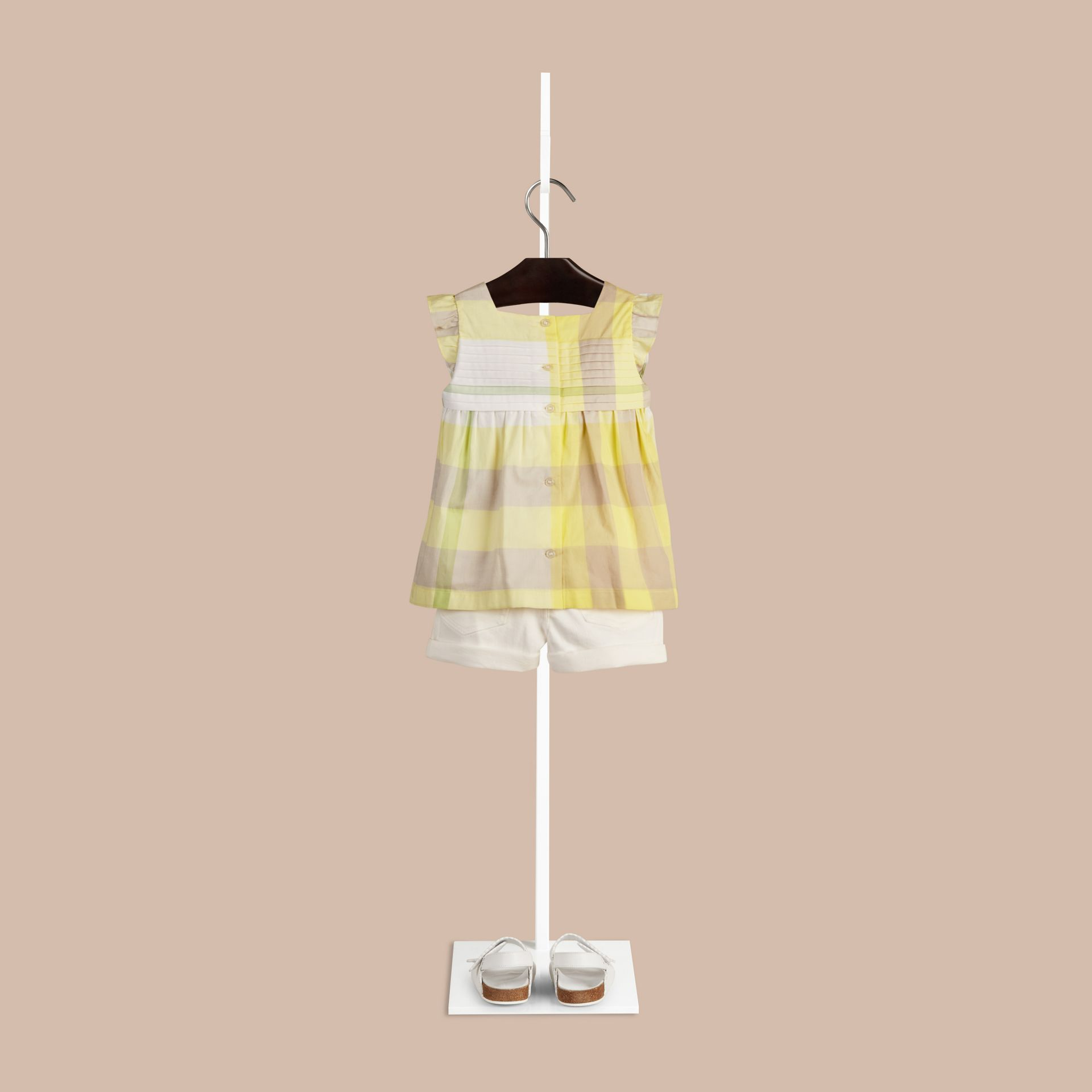 Pale lemon Check Pleat Detail Cotton Blouse Pale Lemon - gallery image 2