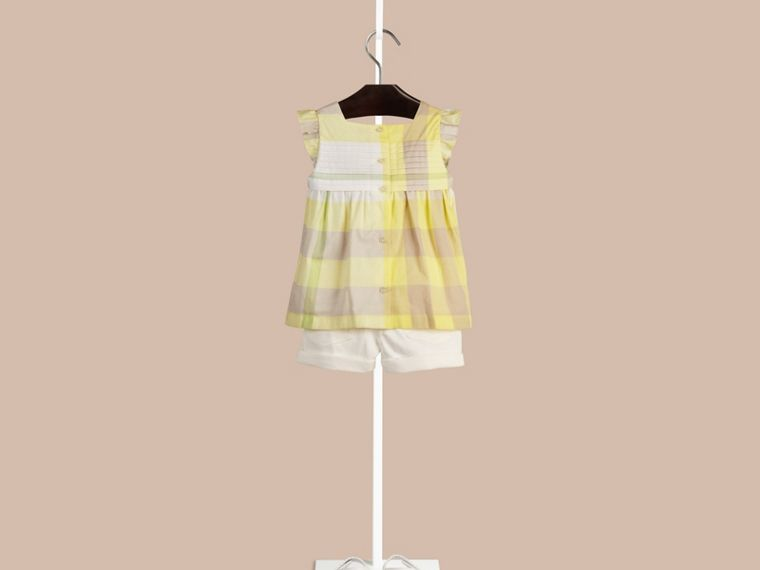 Pale lemon Check Pleat Detail Cotton Blouse Pale Lemon - cell image 1