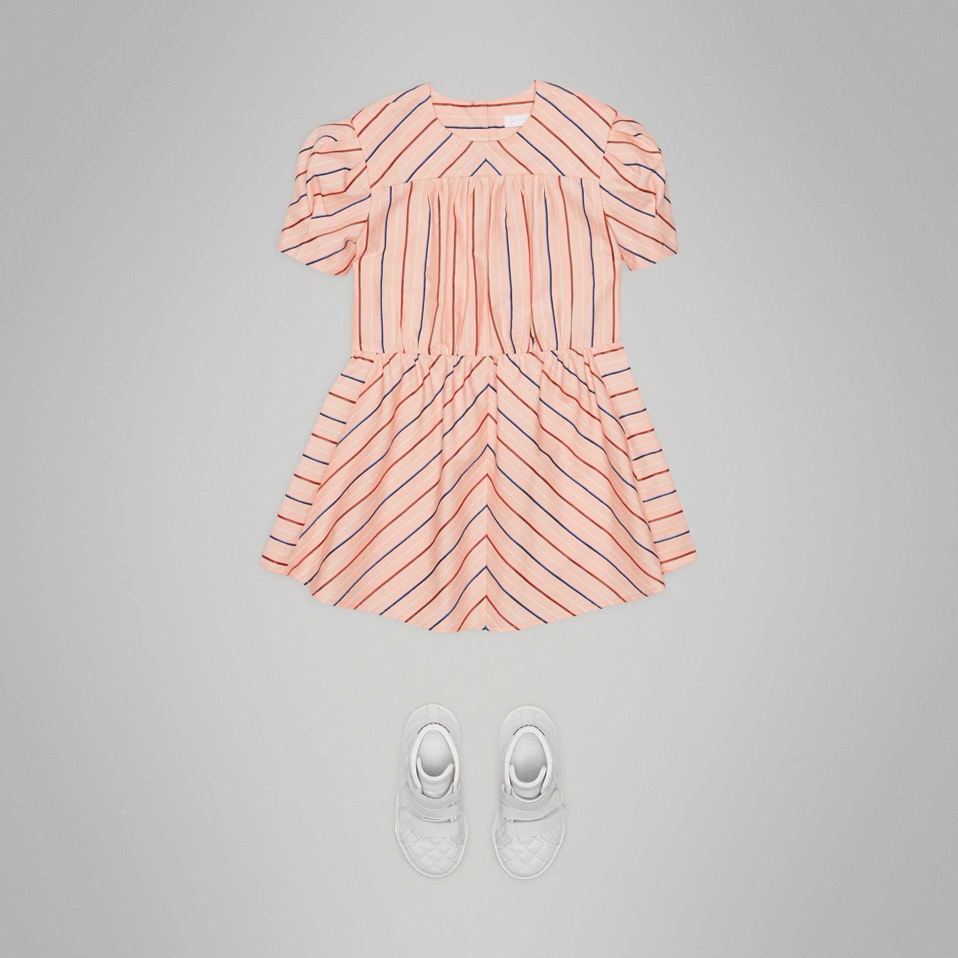 Striped Cotton Silk Panelled Dress in Pale Pink - Girl | Burberry - gallery image 2